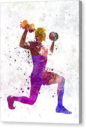 Man Exercising Weight Training Workout Fitness Canvas Print by Pablo Romero