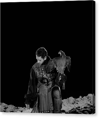 Man Holding An Eagle In Black And White Canvas Print by Art Spectrum