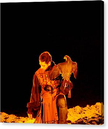 Man Holding An Eagle Canvas Print by Art Spectrum