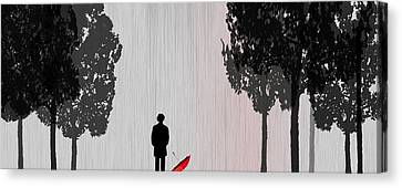 Man In Rain Canvas Print by Jim Kuhlmann