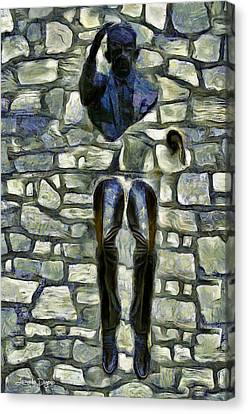 Man In Wall - Da Canvas Print by Leonardo Digenio