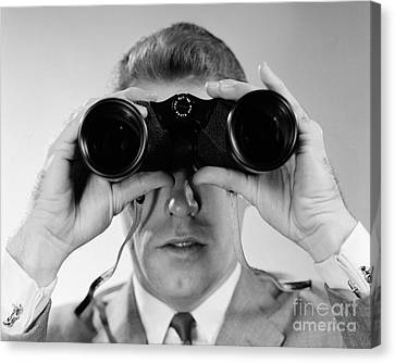 Man Looking Through Binoculars, C.1960s Canvas Print by H. Armstrong Roberts/ClassicStock