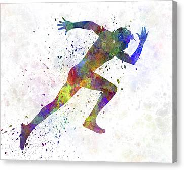 Man Running Sprinting Jogging Canvas Print by Pablo Romero