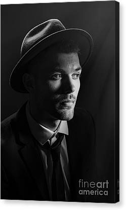 Man Wearing Trilby Canvas Print by Amanda And Christopher Elwell