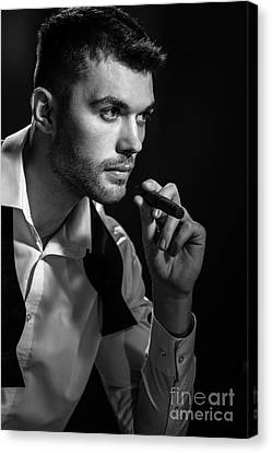Man With Cigar Canvas Print by Amanda And Christopher Elwell