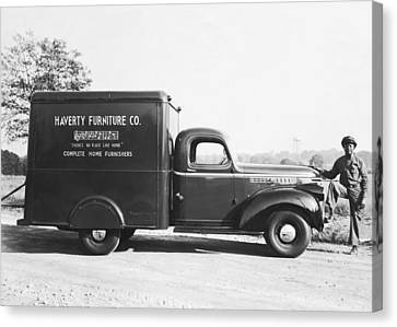 Man With Delivery Truck Canvas Print by Underwood Archives