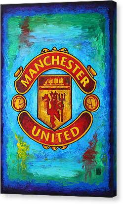 Manchester United Vintage Canvas Print by Dan Haraga