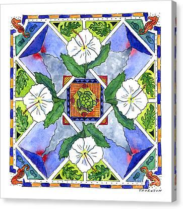 Mandala IIi - White Hibiscus Canvas Print by Diane Thornton