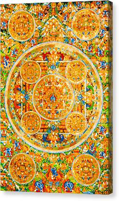 Mandala Of Heruka In Yab Yum And Buddhas 1 Canvas Print by Lanjee Chee