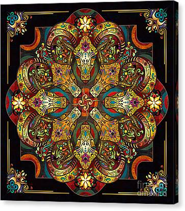 Mandala Sacred Rams - Dark Version Canvas Print by Bedros Awak