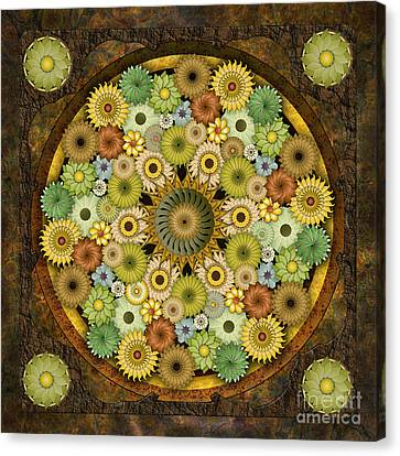 Mandala Stone Flowers Canvas Print by Bedros Awak