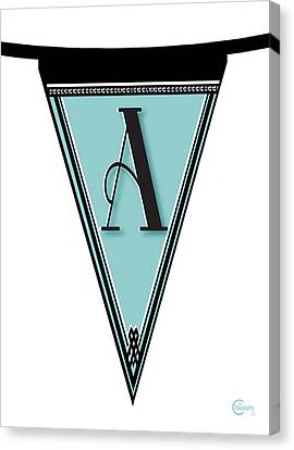 Pennant Deco Blues Banner Initial Letter A Canvas Print by Cecely Bloom