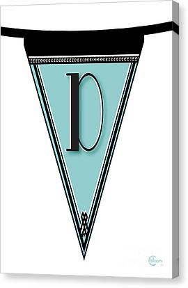Pennant Deco Blues Banner Initial Letter D Canvas Print by Cecely Bloom