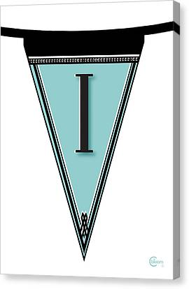 Pennant Deco Blues Banner Initial Letter I Canvas Print by Cecely Bloom
