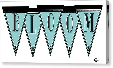 Pennant Deco Blues Message Bloom Canvas Print by Cecely Bloom