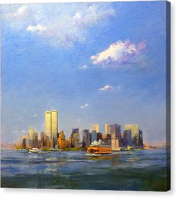 Manhattan And Twin Towers From New York Harbor Canvas Print by Peter Salwen