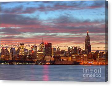 Manhattan Dawn Skyline I Canvas Print by Clarence Holmes