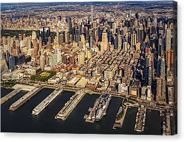 Manhattan New York City Aerial View Canvas Print by Susan Candelario