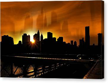Manhattan Silhouette Canvas Print by Svetlana Sewell