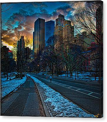 Manhattan Sunset Canvas Print by Chris Lord