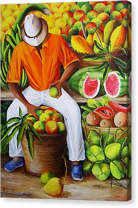 Manuel The Caribbean Fruit Vendor  Canvas Print by Dominica Alcantara