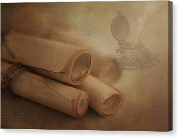 Manuscript Scrolls Still Life Canvas Print by Tom Mc Nemar