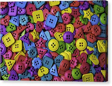 Many Colorful Buttons Canvas Print by Garry Gay