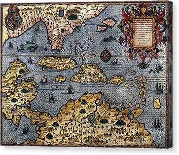 Map: Caribbean, C1591 Canvas Print by Granger