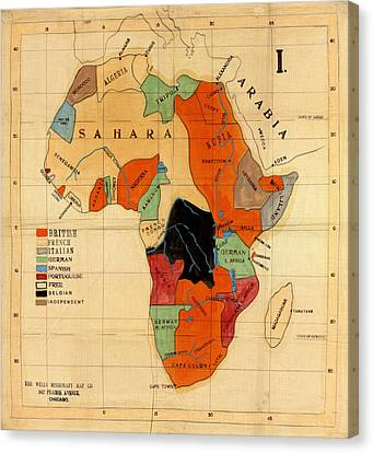 Map Of Africa 1908 Canvas Print by Andrew Fare