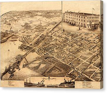 Map Of Collingwood 1875 Canvas Print by Andrew Fare