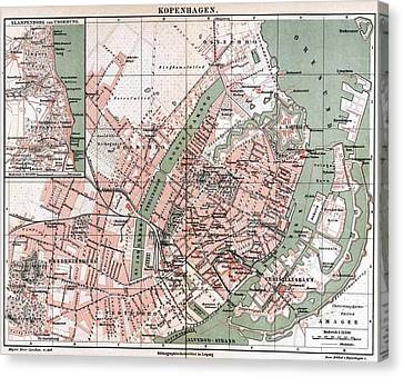 Map Of Copenhagen 1888 Canvas Print by Mountain Dreams
