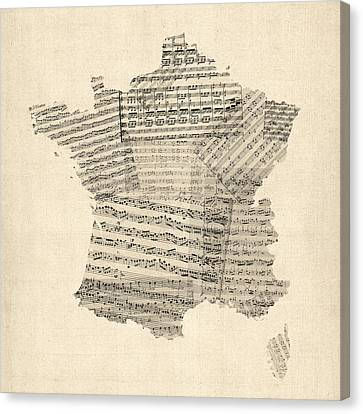 Map Of France Old Sheet Music Map Canvas Print by Michael Tompsett