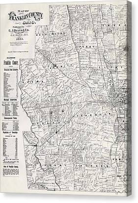 Map Of Franklin County Ohio 1883 Canvas Print by Mountain Dreams