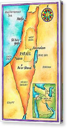 Map Of Israel Canvas Print by Jennifer Thermes