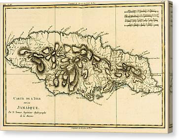 Map Of Jamaica Canvas Print by Guillaume Raynal