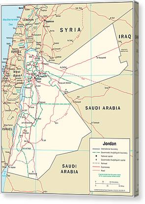 Map Of Jordan 2 Canvas Print by Roy Pedersen