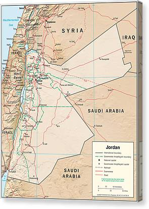Map Of Jordan Canvas Print by Roy Pedersen