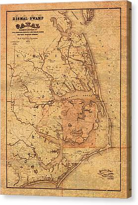 Map Of Outer Banks North Carolina Dismal Swamp Canal Currituck Albemarle Pamlico Sounds Circa 1867  Canvas Print by Design Turnpike