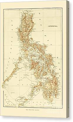 Map Of Philippine Islands Canvas Print by Pg Reproductions