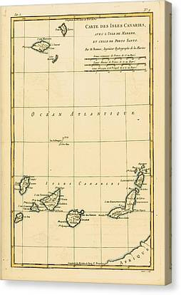Map Of The Canary Isles, Madeira And Canvas Print by Vintage Design Pics