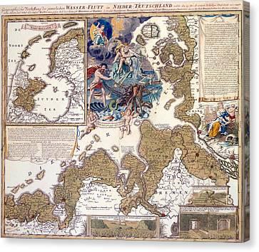 Map Of The Christmas Flood Of 1717 Canvas Print by Johann Baptista Homann