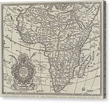 Map Of The Continent Of Africa Nearly Three Hundred Years Old Canvas Print by English School