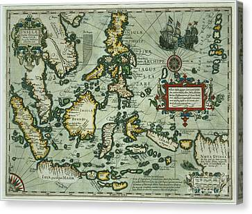 Map Of The East Indies Canvas Print by Dutch School