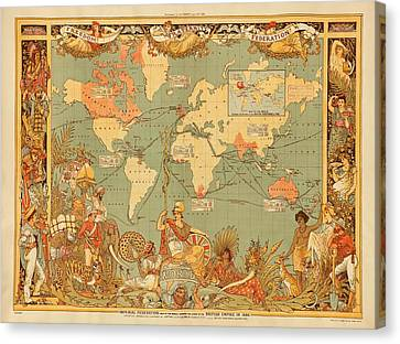 Map Of The Extent Of The British Empire 1886  Canvas Print by Mountain Dreams