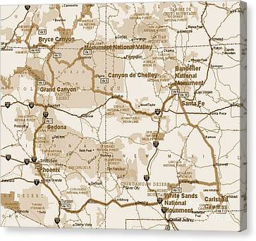 Map Of The Four Corners Canvas Print by Pd
