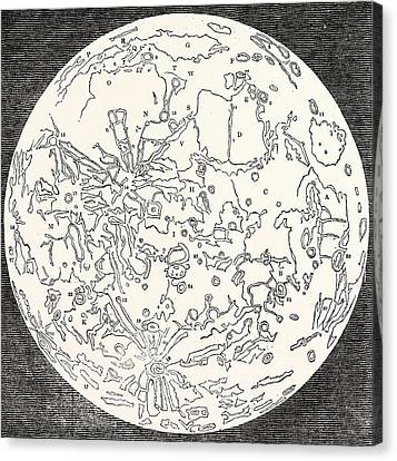 Map Of The Moon Canvas Print by English School