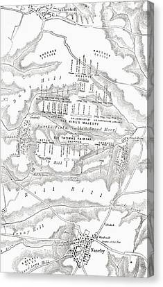 Map Of The Site Of The Battle Of Canvas Print by Vintage Design Pics