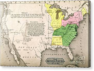 Map Of The United States Canvas Print by John Warner Barber and Henry Hare
