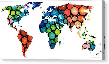 Map Of The World 1 -colorful Abstract Art Canvas Print by Sharon Cummings
