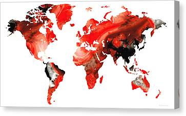 Map Of The World 10 -colorful Abstract Art Canvas Print by Sharon Cummings